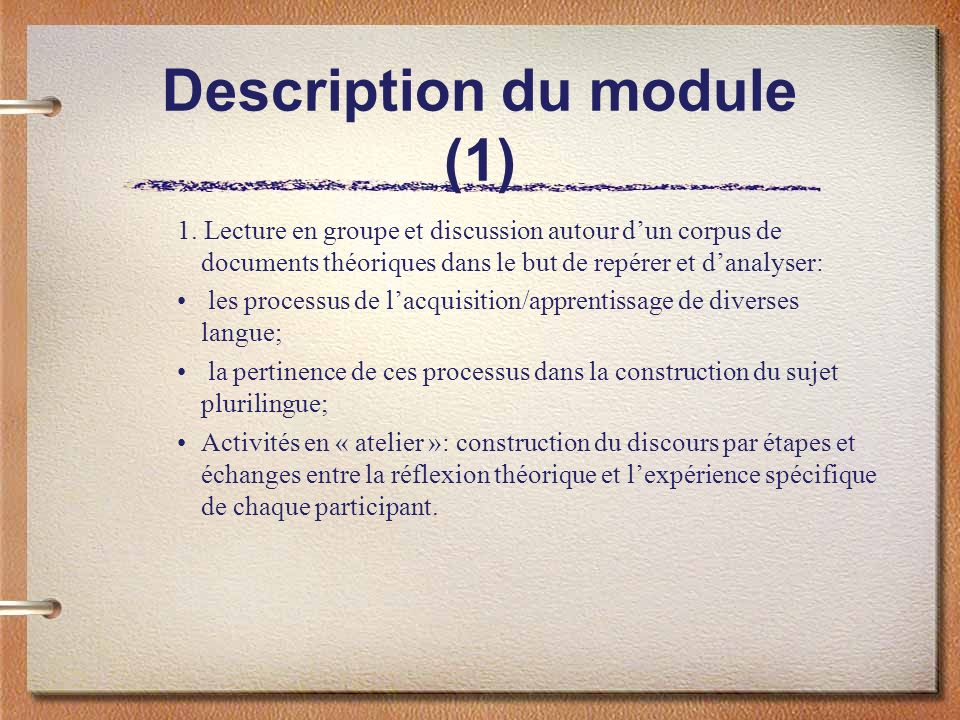 Description du module (1)