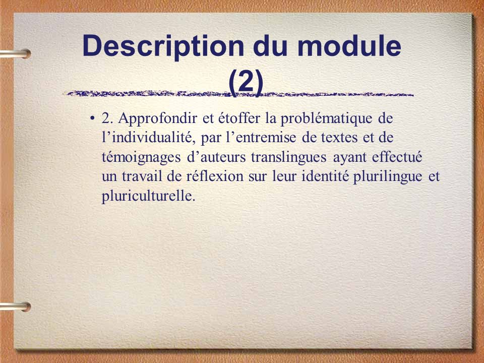 Description du module (2)
