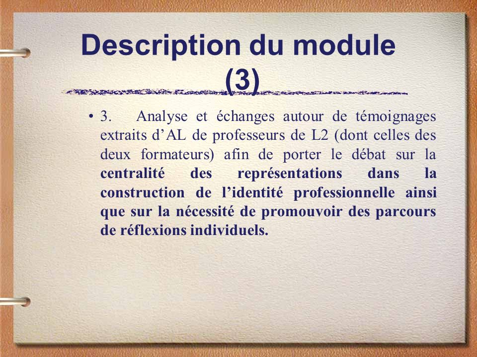 Description du module (3)