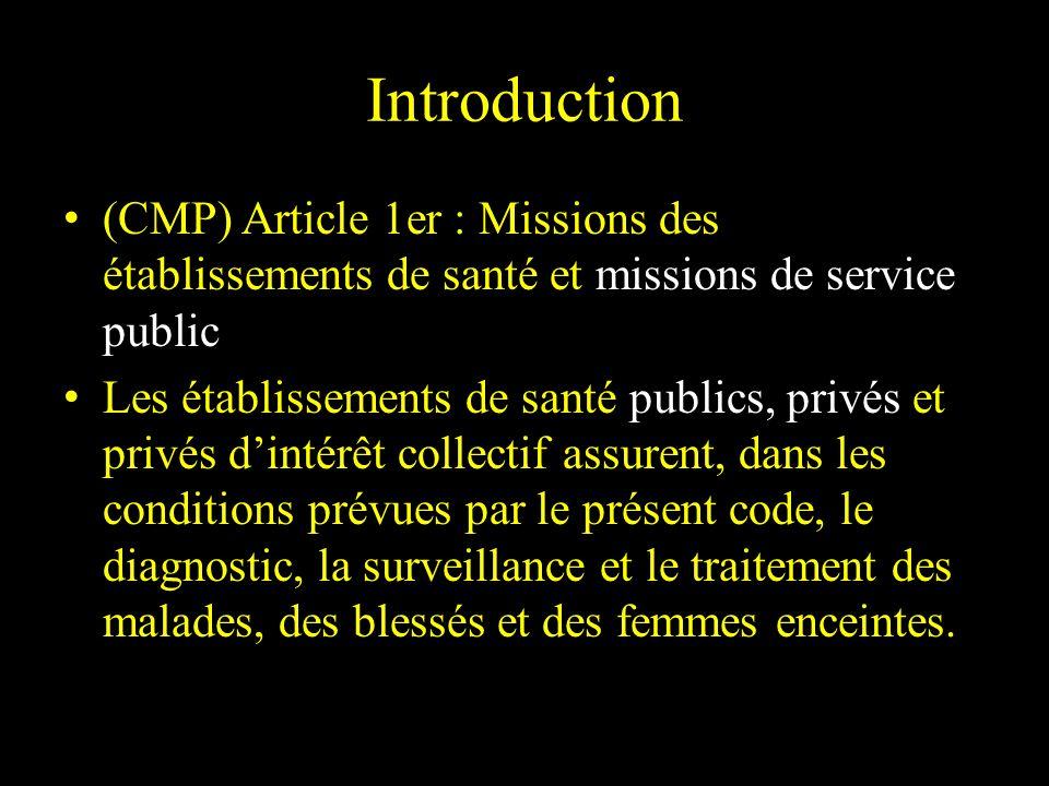 Introduction (CMP) Article 1er : Missions des établissements de santé et missions de service public.