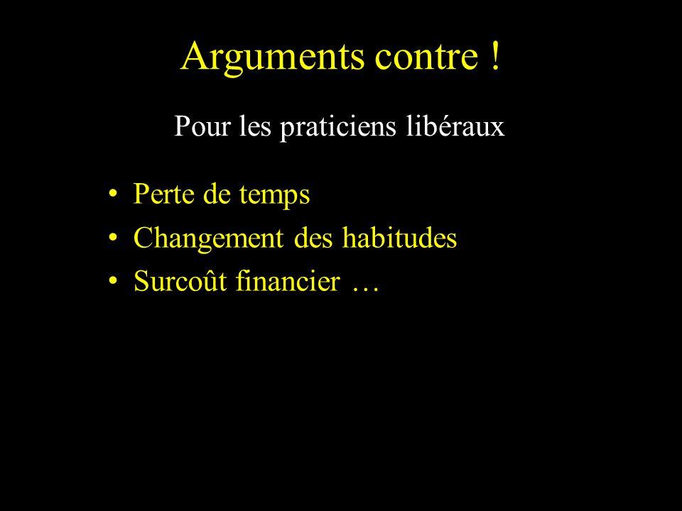 Arguments contre ! Pour les praticiens libéraux Perte de temps