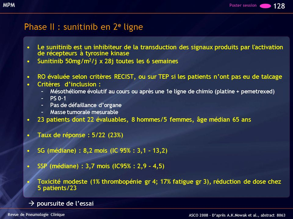 Phase II : sunitinib en 2e ligne