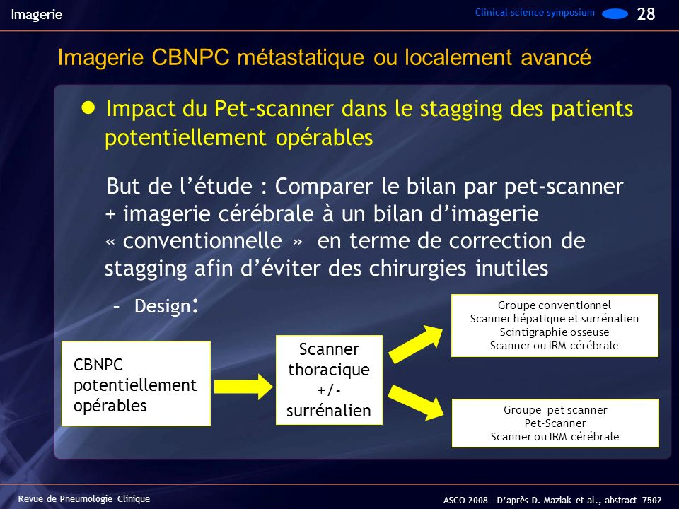 Imagerie Clinical science symposium. 28. Imagerie CBNPC métastatique ou localement avancé.