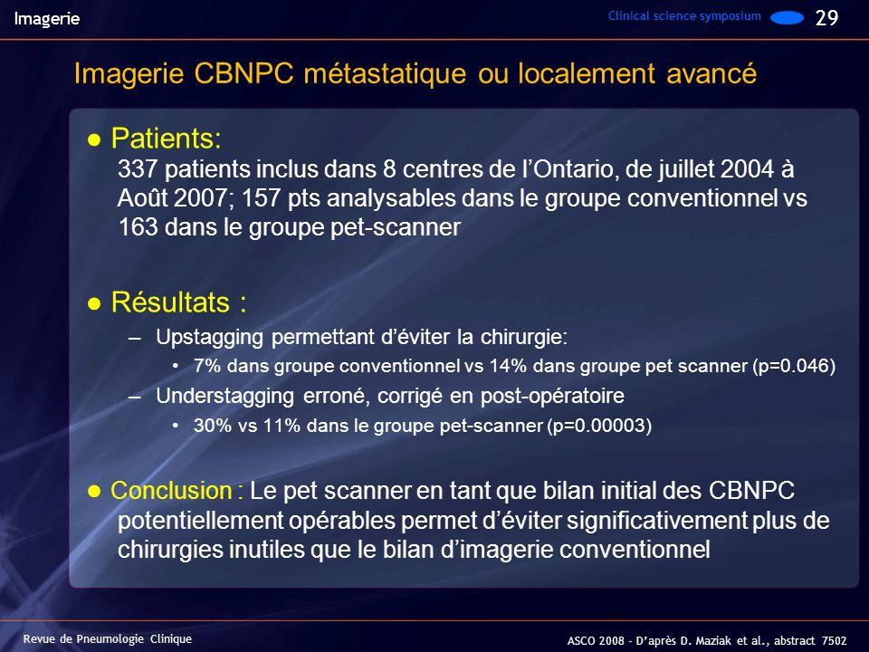 Imagerie CBNPC métastatique ou localement avancé