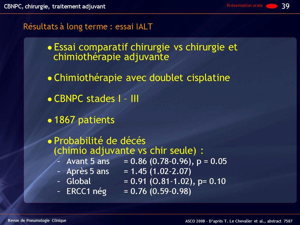 Résultats à long terme : essai IALT