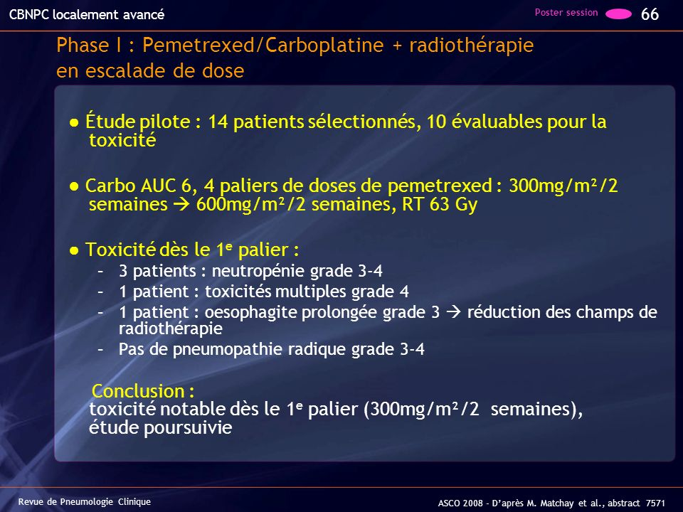 Phase I : Pemetrexed/Carboplatine + radiothérapie en escalade de dose