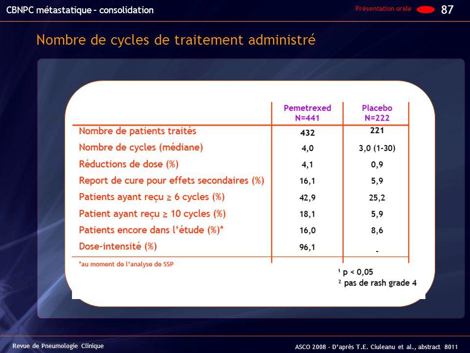 Nombre de cycles de traitement administré