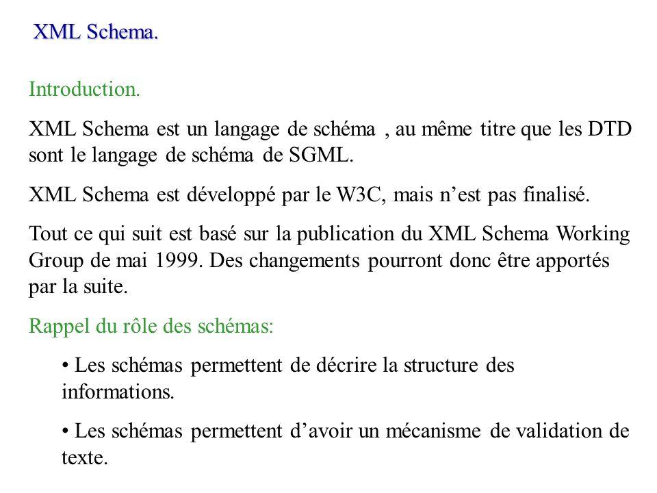 XML Schema.Introduction. XML Schema est un langage de schéma , au même titre que les DTD sont le langage de schéma de SGML.