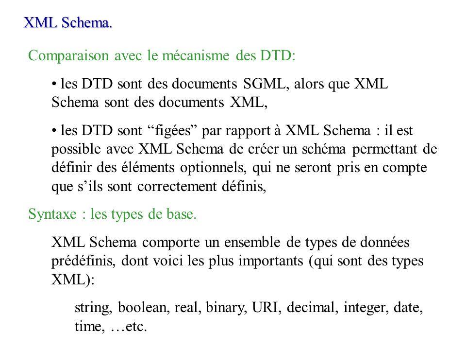 XML Schema.Comparaison avec le mécanisme des DTD: les DTD sont des documents SGML, alors que XML Schema sont des documents XML,