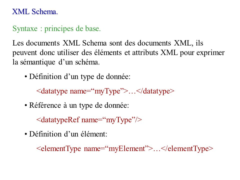 XML Schema. Syntaxe : principes de base.