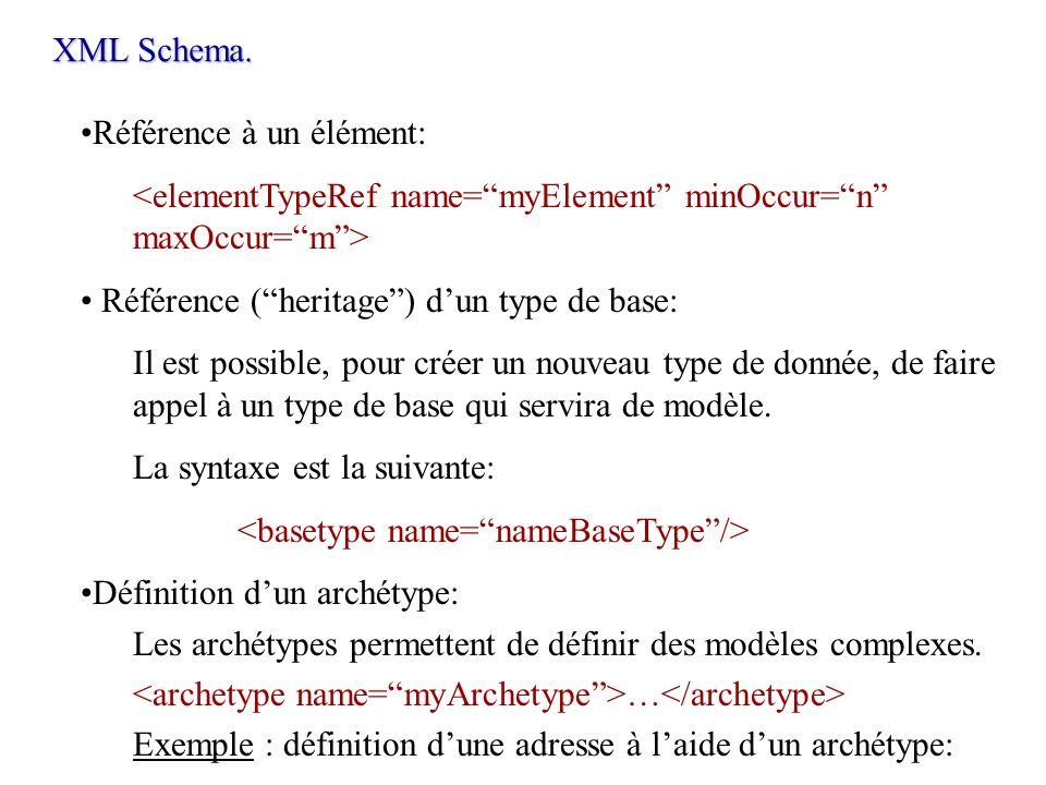 XML Schema.Référence à un élément: <elementTypeRef name= myElement minOccur= n maxOccur= m > Référence ( heritage ) d'un type de base: