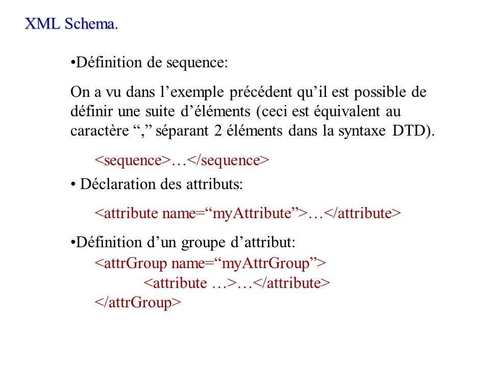 XML Schema.Définition de sequence: