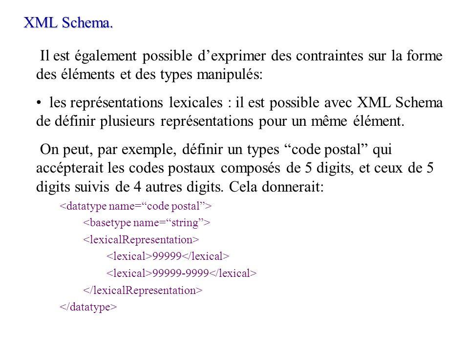 XML Schema.Il est également possible d'exprimer des contraintes sur la forme des éléments et des types manipulés:
