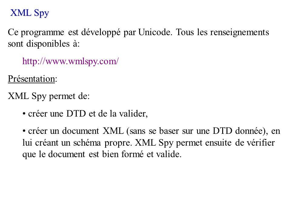 XML SpyCe programme est développé par Unicode. Tous les renseignements sont disponibles à: http://www.wmlspy.com/