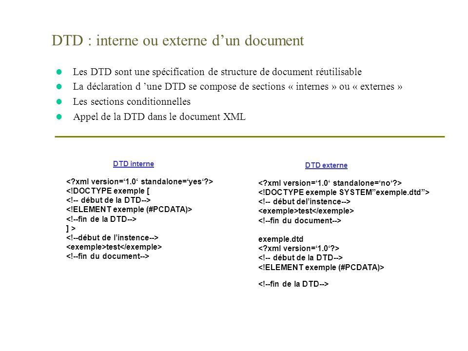 DTD : interne ou externe d'un document