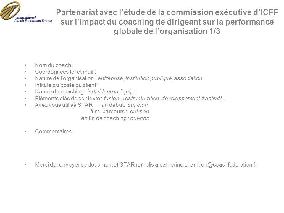 Partenariat avec l'étude de la commission exécutive d'ICFF sur l'impact du coaching de dirigeant sur la performance globale de l'organisation 1/3