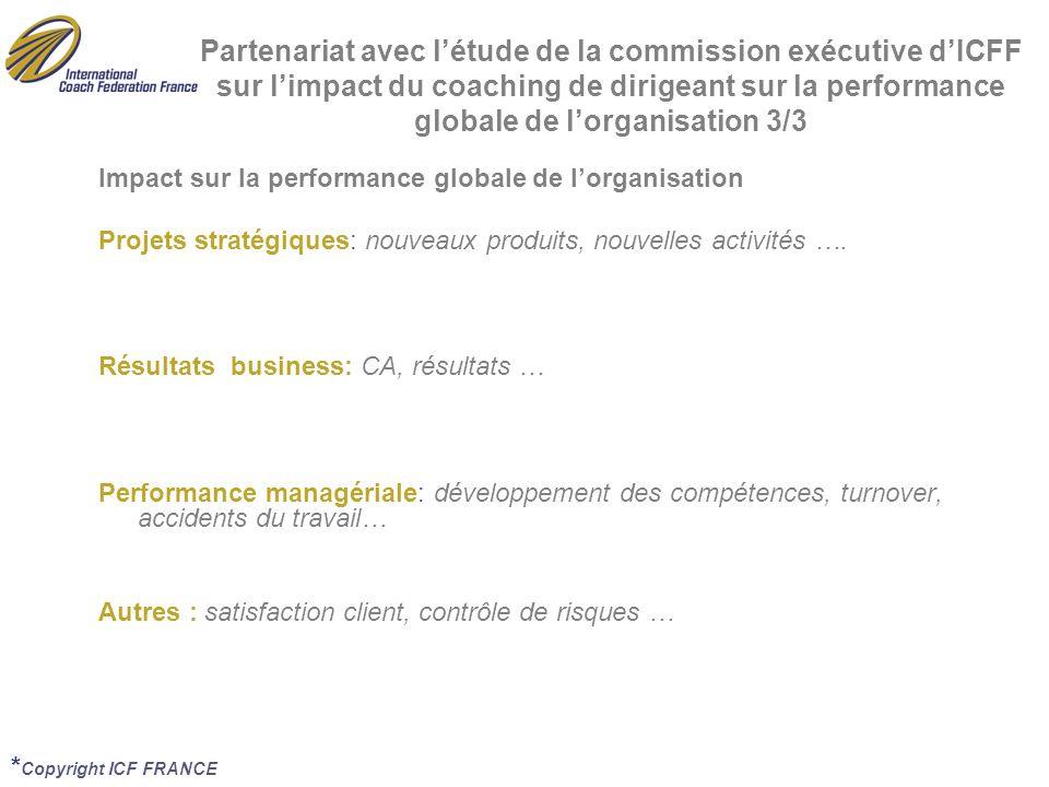 Partenariat avec l'étude de la commission exécutive d'ICFF sur l'impact du coaching de dirigeant sur la performance globale de l'organisation 3/3