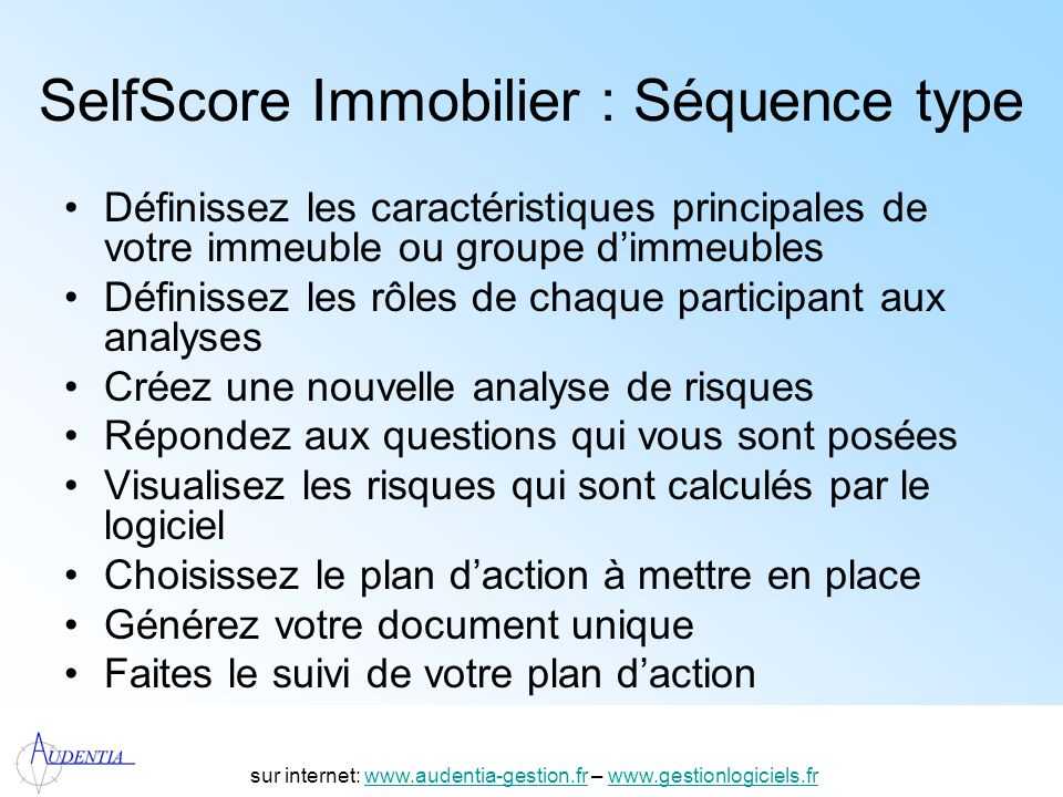 SelfScore Immobilier : Séquence type