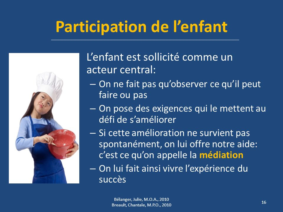 Participation de l'enfant
