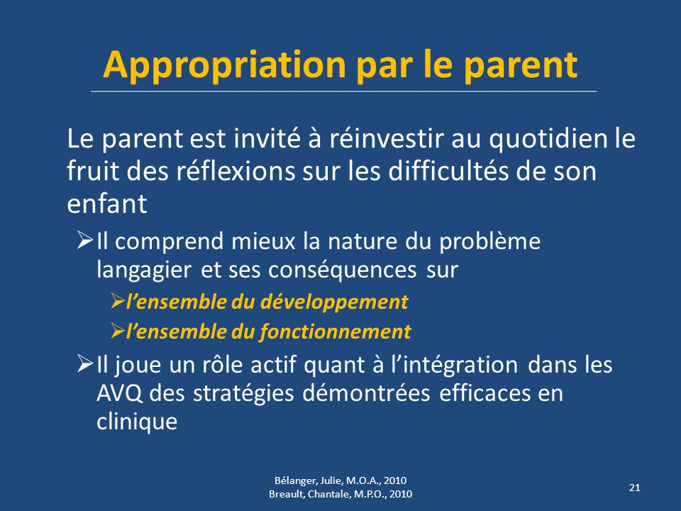 Appropriation par le parent