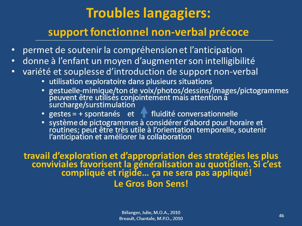 Troubles langagiers: support fonctionnel non-verbal précoce