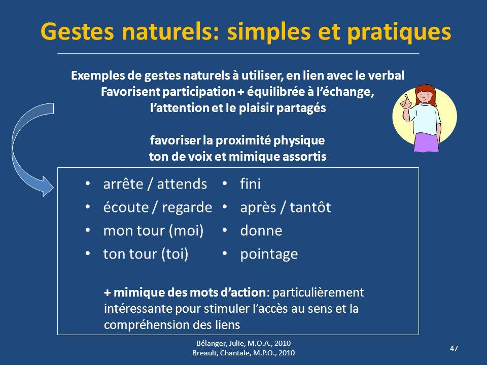 Gestes naturels: simples et pratiques