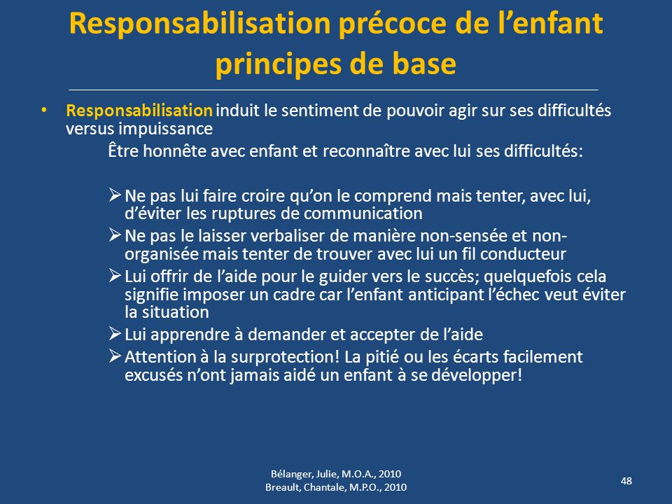 Responsabilisation précoce de l'enfant principes de base