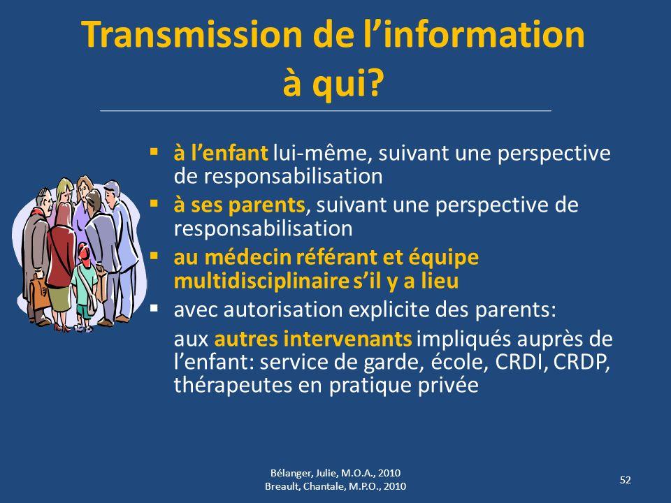 Transmission de l'information à qui