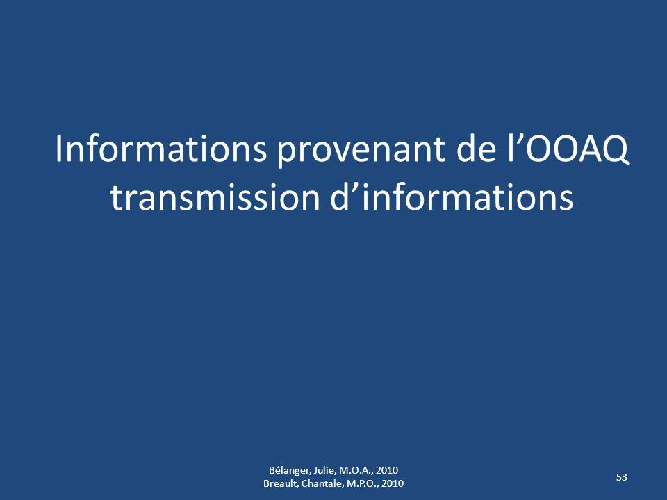 Informations provenant de l'OOAQ transmission d'informations