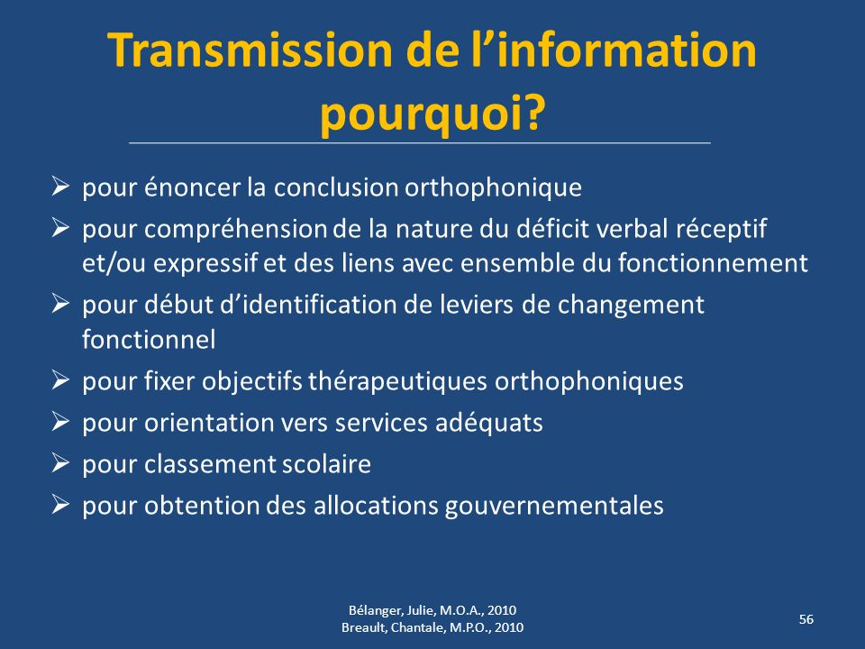 Transmission de l'information pourquoi