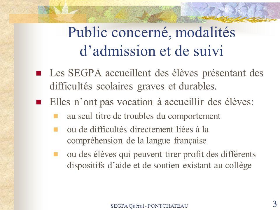 Public concerné, modalités d'admission et de suivi