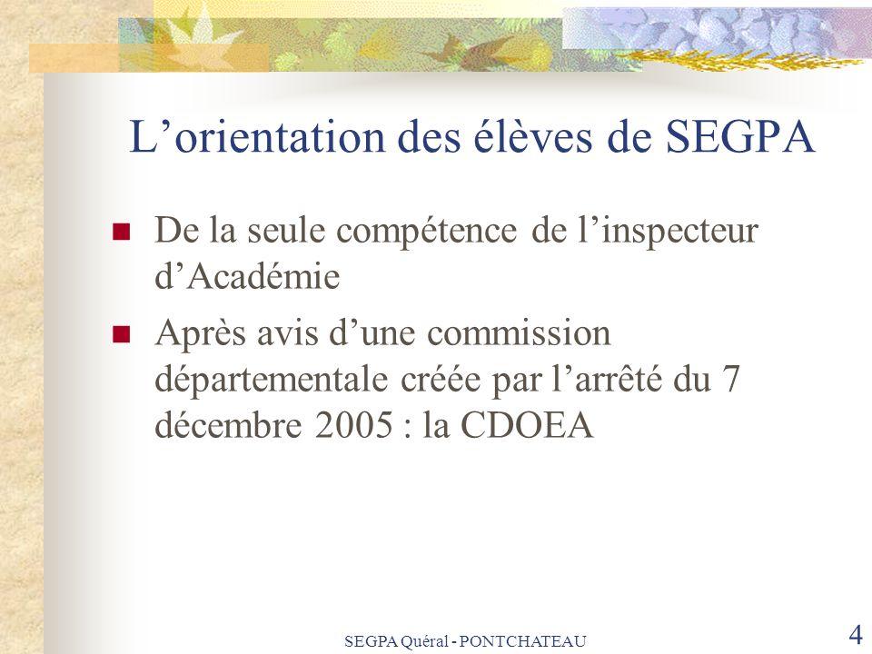 L'orientation des élèves de SEGPA