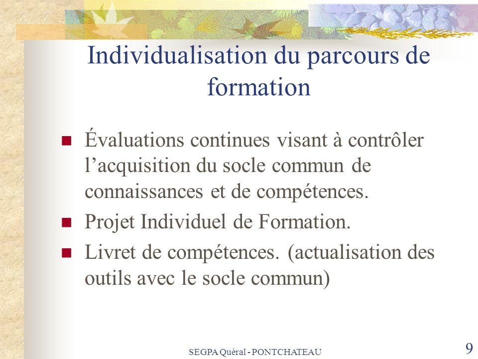 Individualisation du parcours de formation