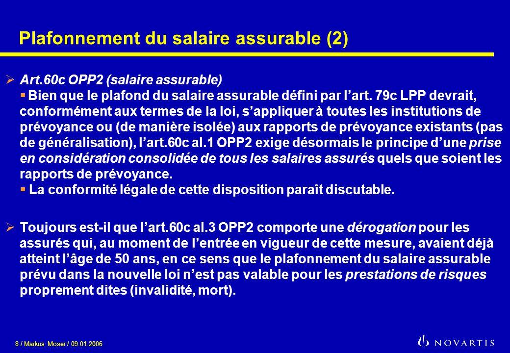 Plafonnement du salaire assurable (2)