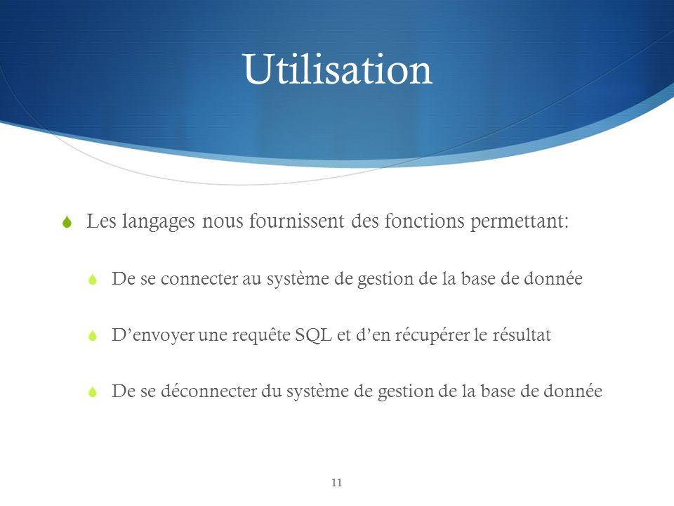 Utilisation Les langages nous fournissent des fonctions permettant:
