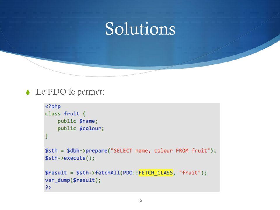 Solutions Le PDO le permet:
