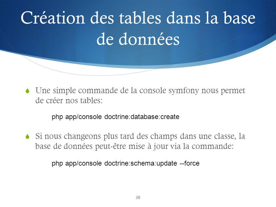 Création des tables dans la base de données
