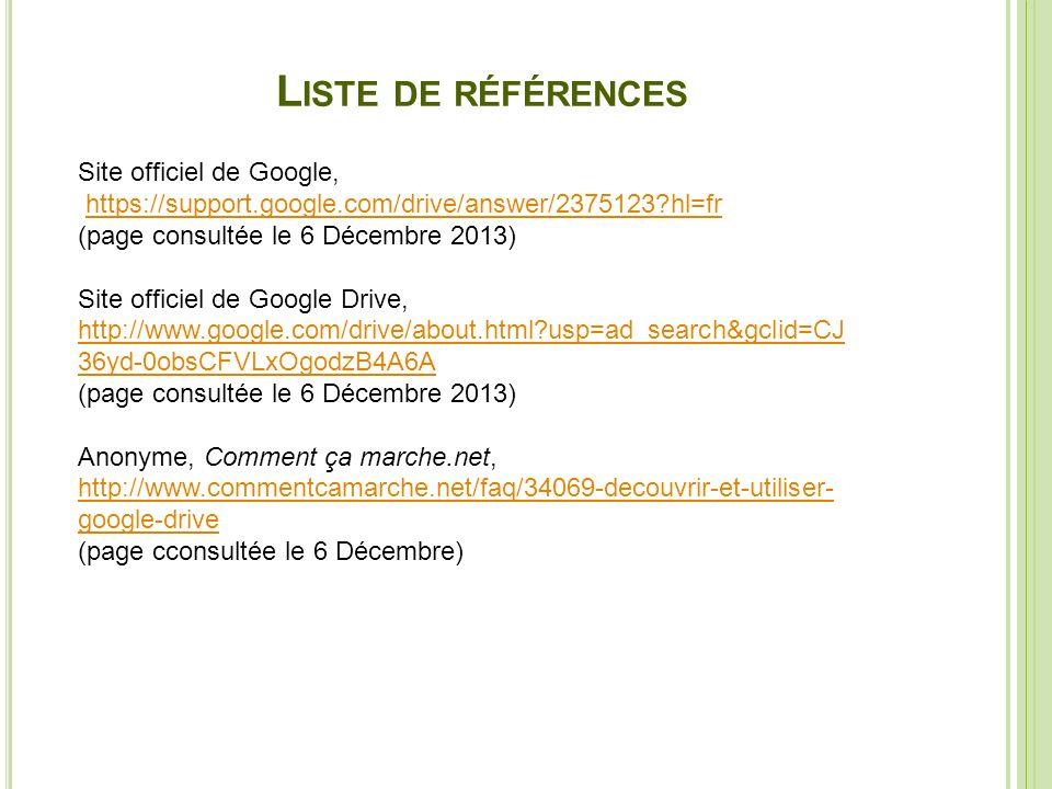 Liste de références Site officiel de Google,