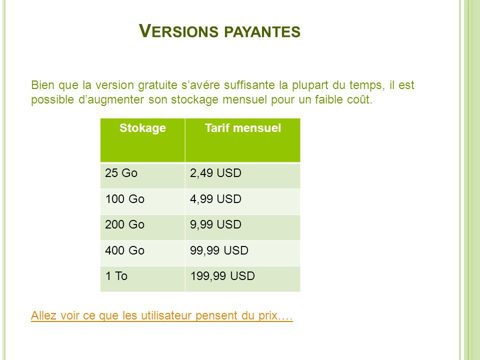 Versions payantes