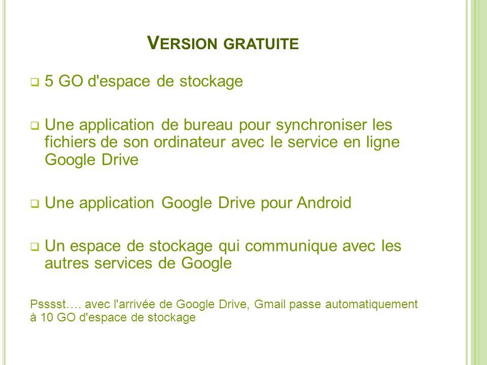 Version gratuite 5 GO d espace de stockage