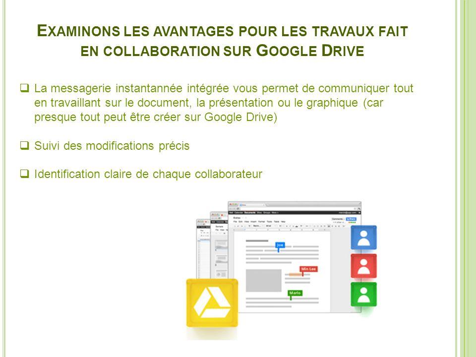 Examinons les avantages pour les travaux fait en collaboration sur Google Drive