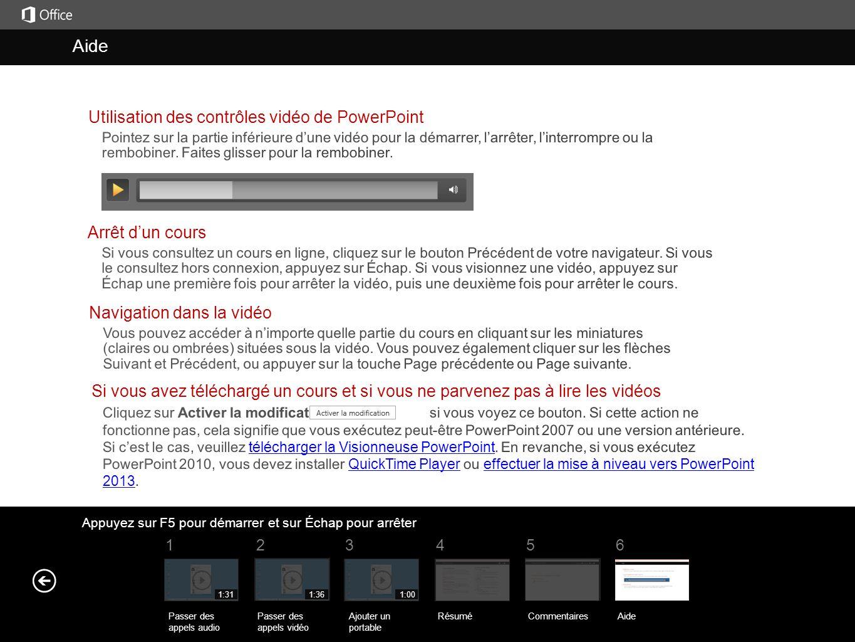 Aide Aide Utilisation des contrôles vidéo de PowerPoint
