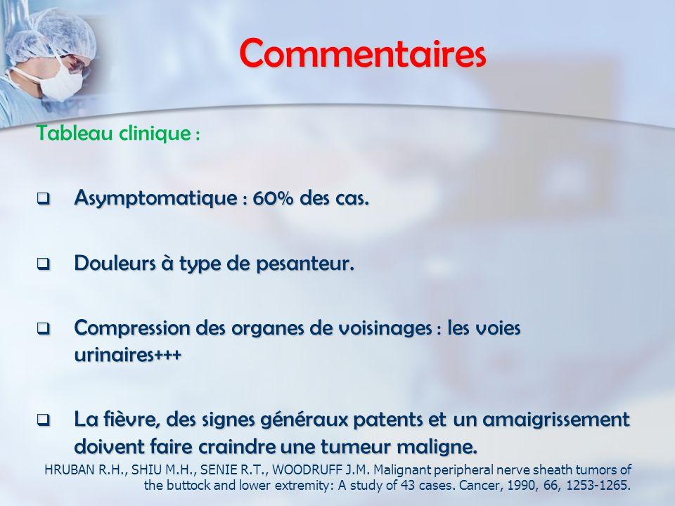 Commentaires Tableau clinique : Asymptomatique : 60% des cas.