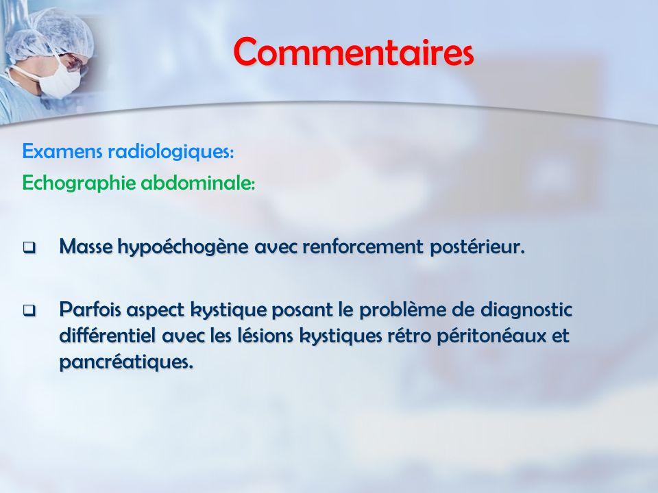 Commentaires Examens radiologiques: Echographie abdominale: