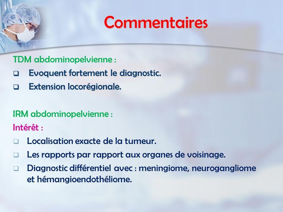 Commentaires TDM abdominopelvienne : Evoquent fortement le diagnostic.