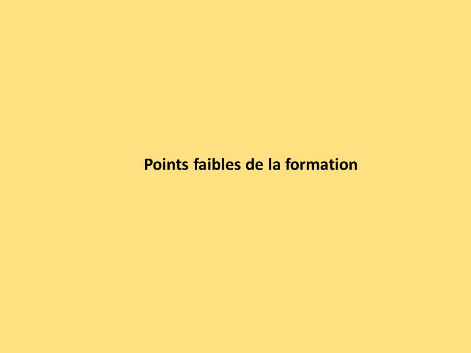 Points faibles de la formation