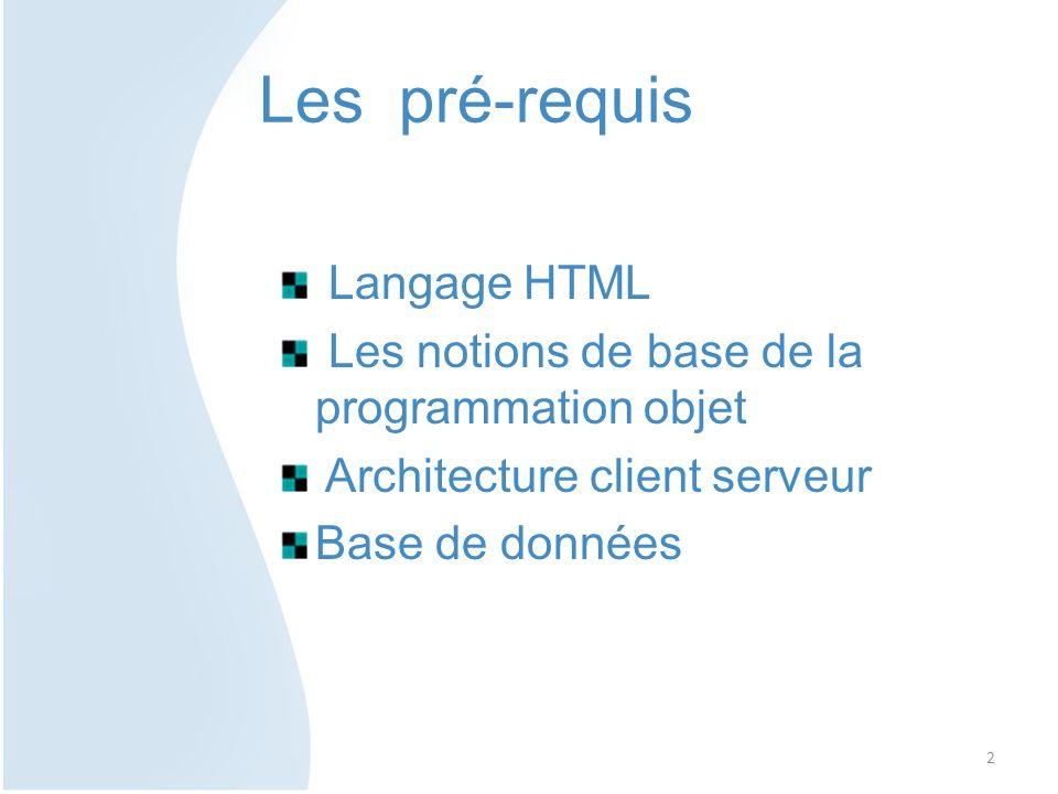 Les pré-requis Langage HTML