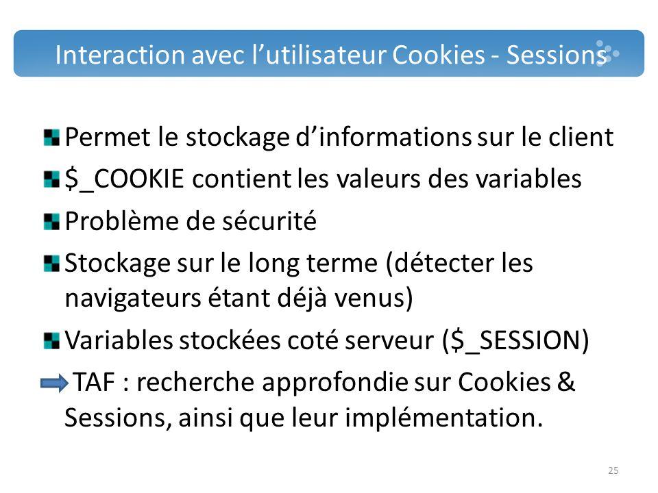 Interaction avec l'utilisateur Cookies - Sessions