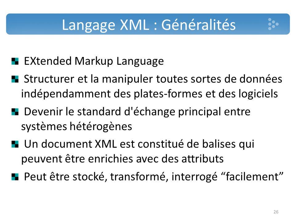 Langage XML : Généralités