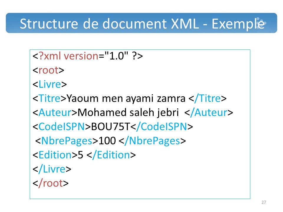 Structure de document XML - Exemple
